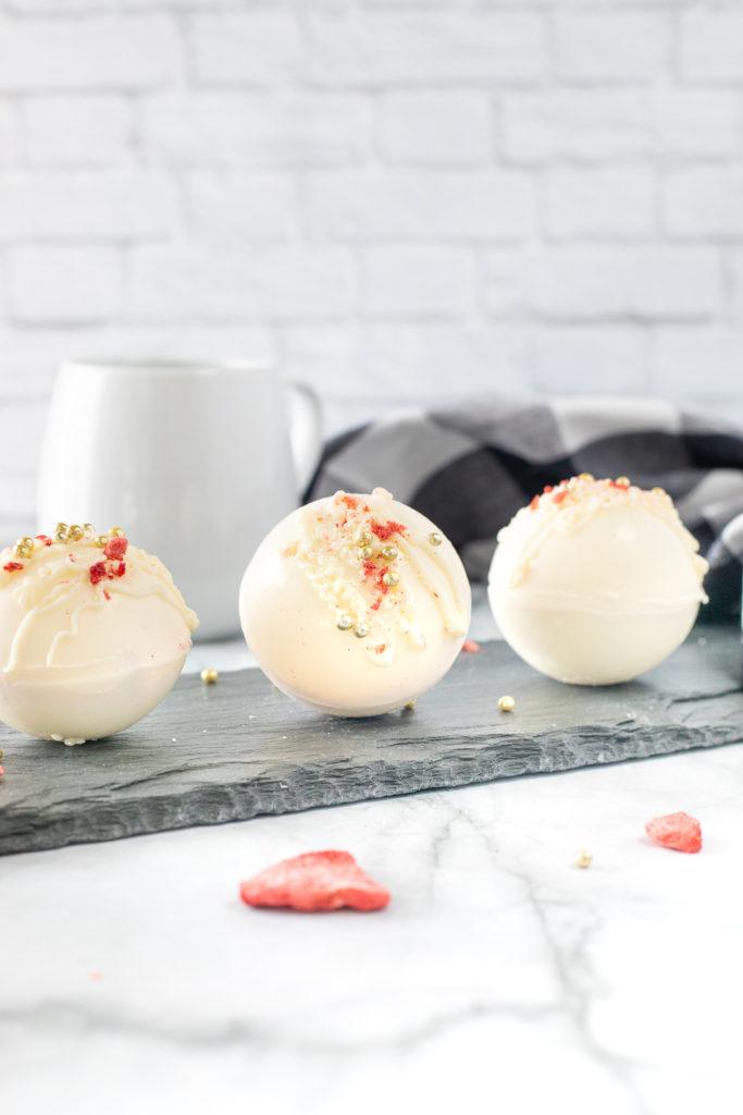 White Chocolate Strawberry Hot Cocoa Bombs
